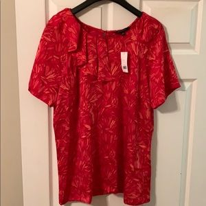 Bright red and pink short sleeve blouse